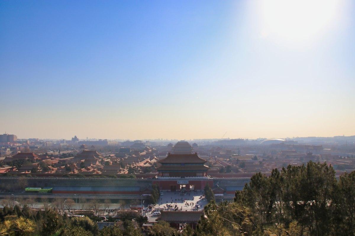 Verbotene Stadt bei schönem Winterwetter vom Kohlehügel aus