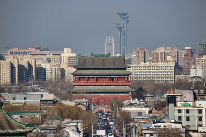 Blick nach Norden vom Kohlehügel: Trommelturm und Olympiagelände