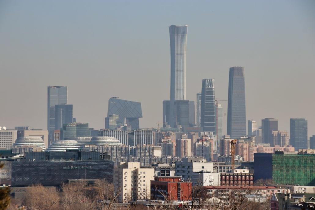 Pekings CBD vom Kohlehügel aus gesehen.