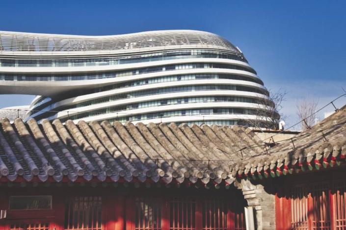 Galaxy Soho vom Zhihua-Tempel aus gesehen.