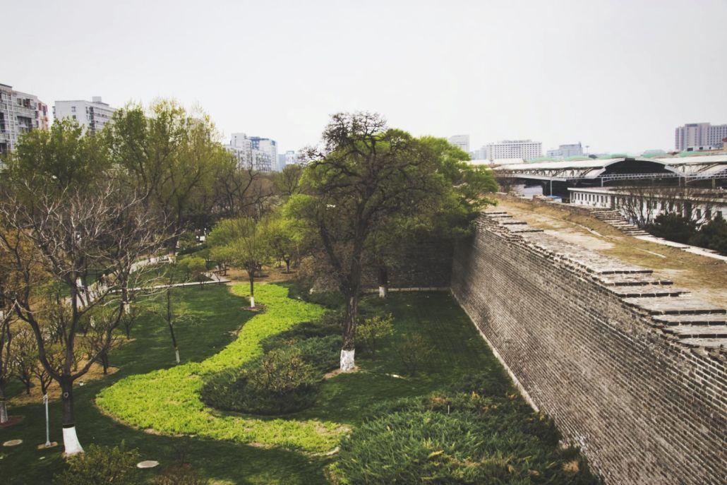 Blick vom Foxtower auf den schmalen Stadtmauerpark