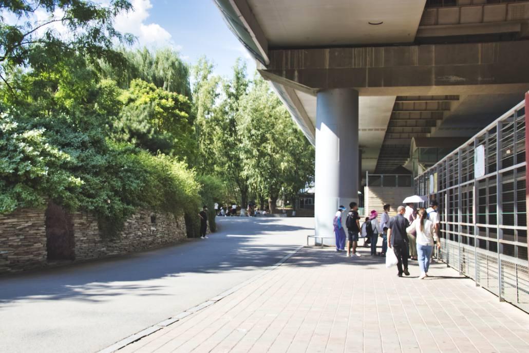 Hochstraße über Gehegen in Pekings Zoo