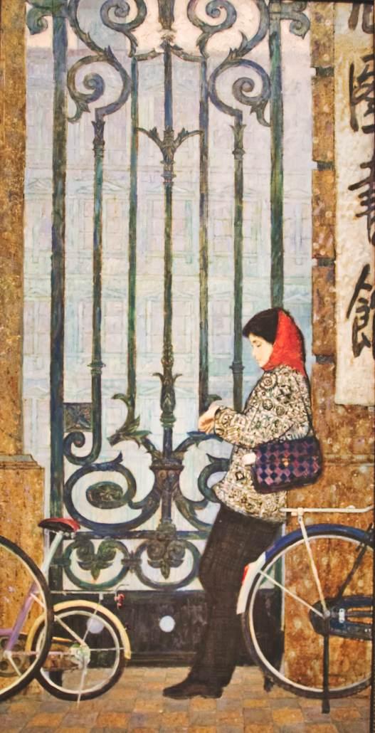 """Xu Wenhua """"Morgen"""" - eine Frau wartet vor der Bibliothek"""